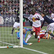 New York Red Bulls goalkeeper Luis Robles can't stop a shot from Charlie Davies, New England Revolution, (out of frame), for his sides first goal during the New England Revolution Vs New York Red Bulls, MLS Eastern Conference Final, second leg. Gillette Stadium, Foxborough, Massachusetts, USA. 29th November 2014. Photo Tim Clayton