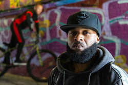 Mac Ferrari, 36. Bikestormz is the brainchild of leader Mac Ferrari, a group of young trick cyclists who are encouraged to put knives down and enjoy the healthy, positive side of urban youth culture by joining together  and developing their cycling skills. . London, September 27 2019.