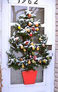 Front door Christmas tree decoration. St Paul Minnesota USA