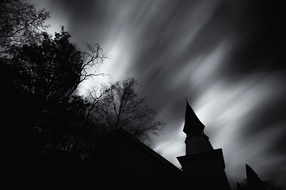 Cloud streaks over the historic Oella church in Oella, Maryland.