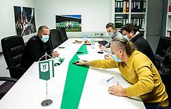 Goran Stankovic with journalists during his official presentation as a new coach of NK Olimpija Ljubljana before the spring season of Prva liga Telekom Slovenije 2020/21, on January 12, 2021 in Ljubljana, Slovenia. Photo by Vid Ponikvar / Sportida