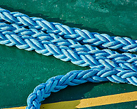 Heavy blue rope on the forward deck of the MV World Odyssey. Image taken with a Nikon 1 V3 camera and 70-300 mm VR lens (ISO 400, 300 mm, f/5.6, 1000 sec).