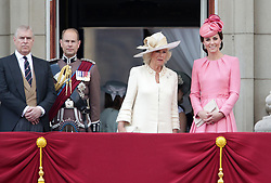 (left to right) The Duke of York, The Earl of Wessex, The Duchess of Cornwall and The Duchess of Cambridge on the balcony of Buckingham Palace, in central London, following the Trooping the Colour ceremony at Horse Guards Parade as the Queen celebrates her official birthday today.