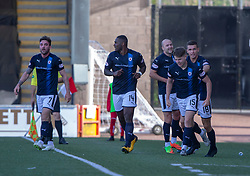 Raith Rovers Kevin Nisbet (15) cele scoring their fourth goal. Airdrie 3 v 4 Raith Rovers, Scottish Football League Division One played 25/8/2018 at the Excelsior Stadium.