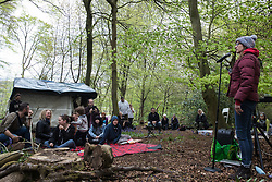 Wendover, UK. 9th May, 2021. Activists and local residents opposed to HS2 attend an event in Jones Hill Wood billed as an 'Accolade To The Ancients' in tribute to the ancient woodland there which is being felled for the high-speed rail link. The event featured a reading of an adaptation of Roald Dahl's Fantastic Mr Fox, which it is said he was inspired to write by Jones Hill Wood, as well as poems, speeches and face painting.