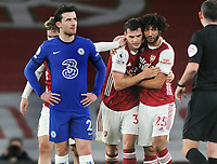 Football - 2020 / 2021 Premier League - Arsenal v Chelsea - Emirates Stadium<br /> <br /> Granit Xhaka of Arsenal celebrates scoring goal no 2 with Mohamed Elneny as Ben Chilwell of Chelsea looks on<br /> <br /> COLORSPORT/ANDREW COWIE