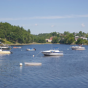Boats in the Union River at the public boat landing and marina. Ellsworth, Maine