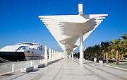 Quay two El Palmeral de las Sorpresas port development of the modern new cruise terminal, Malaga, Spain