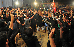 October 28, 2016 - Allahabad, Uttar Pradesh, India - Allahabad: Shia Muslim devotee take part in a mourning procession during Muharram in Allahabad on 28-10-2016, Muharram is celebrated to mark the climax of the mourning which is Called Ashura, The ccommenmoration of Imam Hussain's. photo by prabhat kumar verma (Credit Image: © Prabhat Kumar Verma via ZUMA Wire)