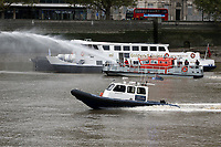London Fire Brigade fire rescue boat Fire Dart, Port of London Authority Launch/pilot cutter Benfleet, Emergency Services Exercise, Lambeth Reach River Thames, London UK, 23 October 2017, Photo by Richard Goldschmidt