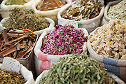 Spices and fragrances for sale at a stall in a souq in the Old City in Damascus, Syria