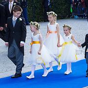 NLD/Apeldoorn/20130105 - Huwelijk prins Jaime en prinses Viktoria Cservenyak, bruidskinderen Zaria, Paola, Julia, Saartje Abbink, Foppe Dolmans, Niklas Eltingh