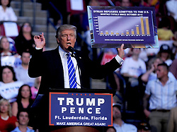 Republican presidential nominee Donald Trump speaks to supporters at a rally in the BB&T center, Ft Lauderdale, FL, USA, August 10, 2016. Photo by Dennis Van Tine/ABACAPRESS.COM  | 558639_014 Fort Lauderdale Etats-Unis United States