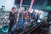 Brooklyn, NY – 6 September 2016. The press run-through of the Norwegian art collective Verdensteatret's production of Bridge Over Mud at the BAM Fisher Theater's Fishman Space. Bridge over Mud (Broen over Gjørme in Norwegian) is part performance, part concert, part installation, and involves 195 feet of train track with moving lights and panels, and is part of BAM's 2016 New Wave Festival.