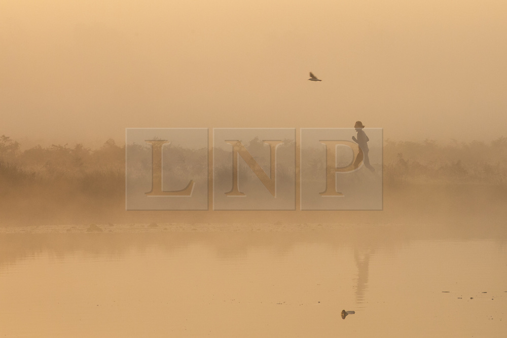 © Licensed to London News Pictures. 30/10/2017. London, UK. A jogger runs through mist at sunrise in Bushy Park where plummeting overnight temperatures caused the first frost of the winter season. Photo credit: Rob Pinney/LNP