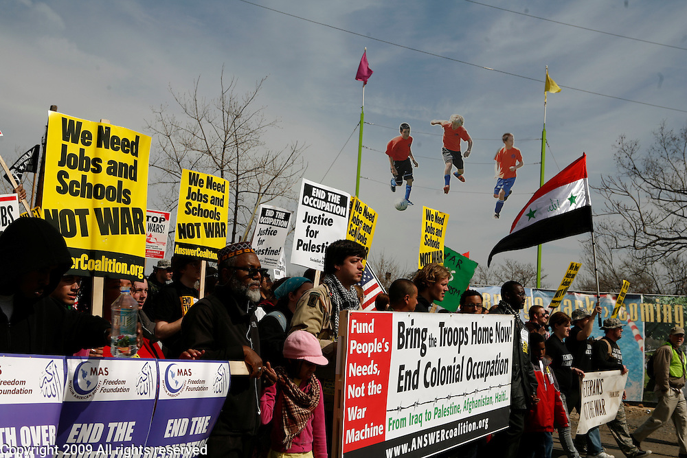 Anti-war protesters march on the pentagon and against the war in Iraq. March 21, 2009. Washington, D.C.