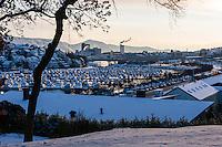 Norway, Stavanger. Hillevågsvatnet marina in the winter.