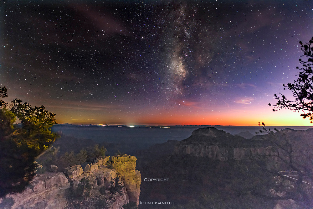 The Milky Way appears during Twilight from the North Rim of the Grand Canyon