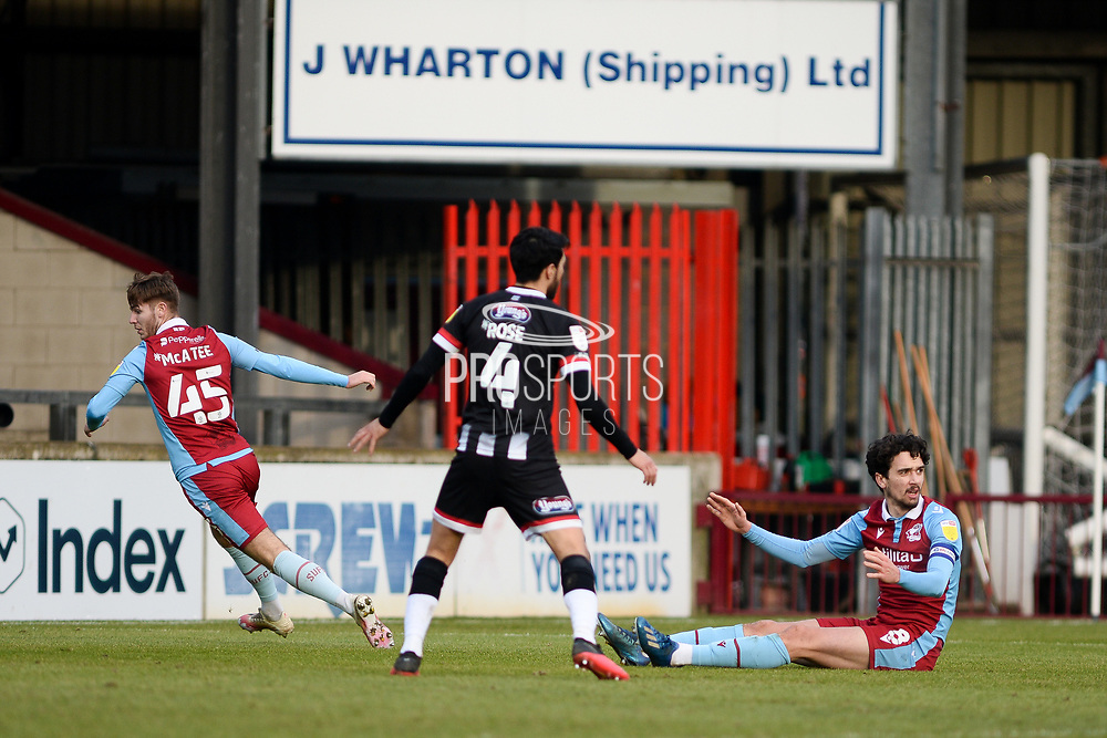 Scunthorpe United Alex Gilliead (8) appeals for penalty during the EFL Sky Bet League 2 match between Scunthorpe United and Grimsby Town FC at the Sands Venue Stadium, Scunthorpe, England on 23 January 2021.