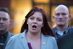 @Licensed to London News Pictures 07/03/2018. Folkestone, UK. A spokeswoman from Britain First announces the verdict from todays hearing at Folkestone Magistrates Court. Leader Mr Paul Golding and deputy leader Jayda Fransen of far right group Britain First have been found guilty and jailed at Folkestone Magistrates Courts today over allegations of religiously aggrevated harassment. Ms Fransen was sentenced to 36 weeks and Mr Golding to 18 weeks.Photo credit: Manu Palomeque/LNP