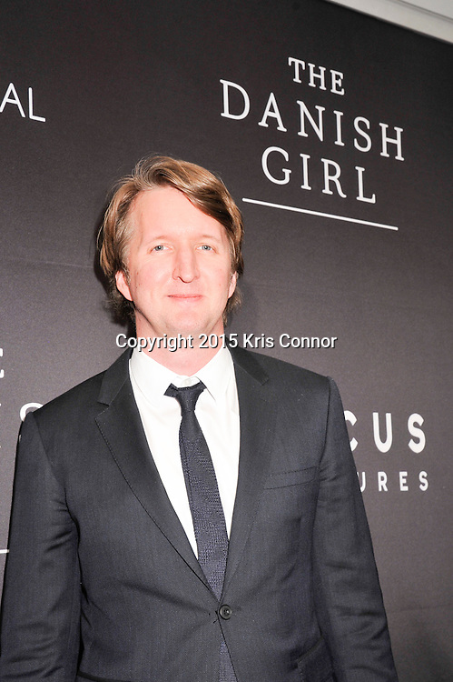 """Tom Hooper, director, The Danish Girl, attends the DC premiere of Focus Features' """"THE DANISH GIRL"""" at the United States Navy Memorial in Washington DC on November 23, 2015.  (Photo by Kris Connor for Focus Features)"""