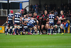 Ulster and Bristol Rugby prepare for a scrum - Photo mandatory by-line: Dougie Allward/JMP  - Tel: Mobile:07966 386802 21/10/2012 - SPORT - Rugby Union - British and Irish Cup -  Bristol  - The Memorial Stadium - Bristol Rugby V Ulster Ravens