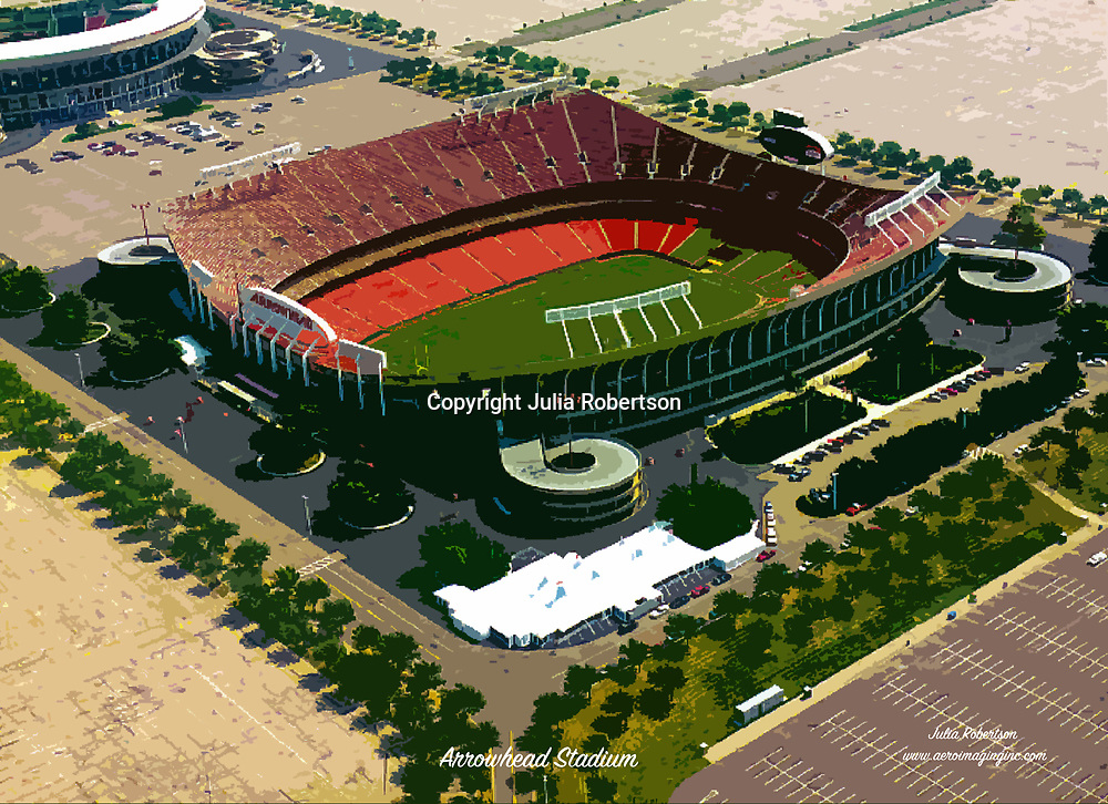 Aerial view of Arrowhead Stadium, Home of the Kansas City Chiefs ([Julia Robertson]/via AP Images)