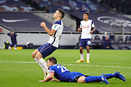 Tottenham Hotspur defender Sergio Reguilon (3) reacts to a near miss during the EFL Cup Fourth Round match between Tottenham Hotspur and Chelsea at Tottenham Hotspur Stadium, London, United Kingdom on 29 September 2020.