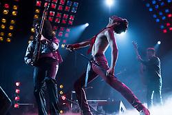 Gwilym Lee (Brian May), Rami Malek (Freddie Mercury), and Joe Mazzello (John Deacon) star in Twentieth Century Fox's BOHEMIAN RHAPSODY. Photo Credit: Courtesy Twentieth Century Fox.