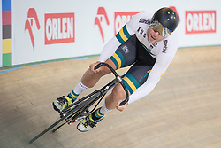 March 2, 2019 - Pruszkow, Poland - Nathan Hart (AUS) competes in the Men's sprint qualifying race on day four of the UCI Track Cycling World Championships held in the BGZ BNP Paribas Velodrome Arena on March 02 2019 in Pruszkow, Poland. (Credit Image: © Foto Olimpik/NurPhoto via ZUMA Press)