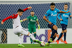 November 23, 2017 - Saint Petersburg, Russia - Christian Noboa (R) of FC Zenit Saint Petersburg and Vanja Markovic of FK Vardar vie for the ball during the UEFA Europa League Group L match between FC Zenit St. Petersburg and FK Vardar at Saint Petersburg Stadium on November 23, 2017 in Saint Petersburg, Russia. (Credit Image: © Mike Kireev/NurPhoto via ZUMA Press)