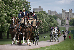 © Licensed to London News Pictures. 11/05/2018. Windsor, UK. Horse drawn coaches ride The Long Walk in front of Windsor Castle during the 75th Royal Windsor Horse Show.The five day event takes place in the grounds of Windsor Castle. Photo credit: Peter Macdiarmid/LNP