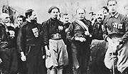 Benito Mussolini  (1883-1945) Italian fascist dictator, centre right, leading the march on Rome, 1922.