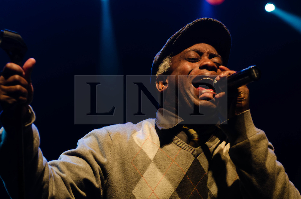 """© Licensed to London News Pictures. 08/03/2013. London, UK.   Corey Glover of Living Colour performing live at KOKO at the band's only UK date on their tour celebrating the 25th Year Anniversary for their debut album Vivid.  In 1990 they won a Grammy Award for Best Hard Rock Performance for their song """"Cult of Personality"""", which featured on """"Vivid"""".  The band formed in New York City in 1984 and consist of Vernon Reid (guitar), Corey Glover (vocals), Will Calhoun (drums) , and Doug Wimbish (bass).  Photo credit : Richard Isaac/LNP"""