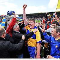 22 June 2008; Niall Gilligan, Clare, celebrates with supporters after victory over Limerick. GAA Hurling Munster Senior Championship Semi-Final, Limerick v Clare, Semple Stadium, Thurles, Co. Tipperary. Picture credit: Brendan Moran / SPORTSFILE