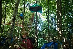 Tree platforms, tents and other dwellings in woodland at the Stop HS2 Wendover Active Resistance Camp are seen on 17th July 2020 in Wendover, United Kingdom. Environmental activists from groups including Stop HS2 and HS2 Rebellion continue to protest against HS2, which is currently projected to cost £106bn and which will remain a net contributor to CO2 emissions during its projected 120-year lifespan, on environmental and economic grounds.
