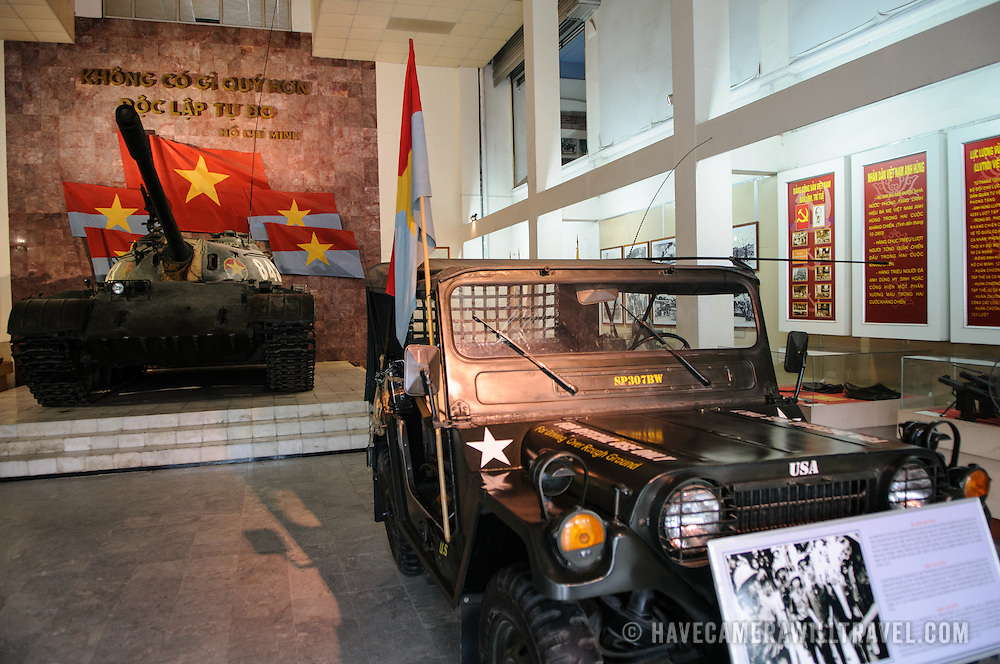 A jeep on display in a new building at the Vietnam Military History Museum. The museum was opened on July 17, 1956, two years after the victory over the French at Dien Bien Phu. It is also known as the Army Museum (the Vietnamese had little in the way of naval or air forces at the time) and is located in central Hanoi in the Ba Dinh District near the Lenin Monument in Lenin Park and not far from the Ho Chi Minh Mausoleum.
