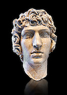 Roman Bust of Antinous - late Hadrianic period circa 130-138AD. Antinous was the young Bithynian favoured by the emperor Hadrian who was deified after drowning under mysterious circumstances in the waters of the Nile circa 130AD. Thanks to the promotion of the cult Antinous portraits can be found throughout the Empire in the places most frequented by Hadrian. National Roman Museum, Rome, Italy .<br /> <br /> If you prefer to buy from our ALAMY PHOTO LIBRARY  Collection visit : https://www.alamy.com/portfolio/paul-williams-funkystock/roman-museum-rome-sculpture.html<br /> <br /> Visit our ROMAN ART & HISTORIC SITES PHOTO COLLECTIONS for more photos to download or buy as wall art prints https://funkystock.photoshelter.com/gallery-collection/The-Romans-Art-Artefacts-Antiquities-Historic-Sites-Pictures-Images/C0000r2uLJJo9_s0