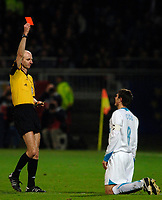 Photo: Daniel Hambury.<br />Lyon v PSV Eindhoven. UEFA Champions League. 08/03/2006.<br />PSV's Phillip Cocu is sent off for a second bookable offence by English referee Mike Riley.