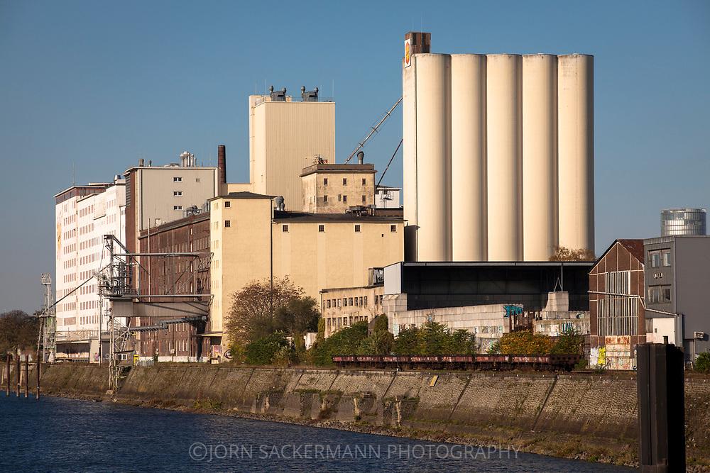 the Ellmill or Aurora mill in the Rhine harbor in the district Deutz, Cologne, Germany.<br /> <br /> die Ellmuehle oder Aurora Muehle im Deutzer Hafen, Koeln, Deutschland.