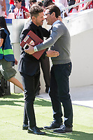 Atletico de Madrid's coach Diego Pablo Simeone and Sevilla's coach Eduardo Berizzo during La Liga match between Atletico de Madrid and Sevilla FC at Wanda Metropolitano Stadium in Madrid, Spain September 23, 2017. (ALTERPHOTOS/Borja B.Hojas)