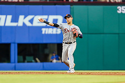 May 7, 2018 - Arlington, TX, U.S. - ARLINGTON, TX - MAY 07: Detroit Tigers shortstop Jose Iglesias (1) throws the ball to first ball during the game between the Texas Rangers and the Detroit Tigers on May 07, 2018 at Globe Life Park in Arlington, Texas. Texas defeats Detroit 7-6. (Photo by Matthew Pearce/Icon Sportswire) (Credit Image: © Matthew Pearce/Icon SMI via ZUMA Press)