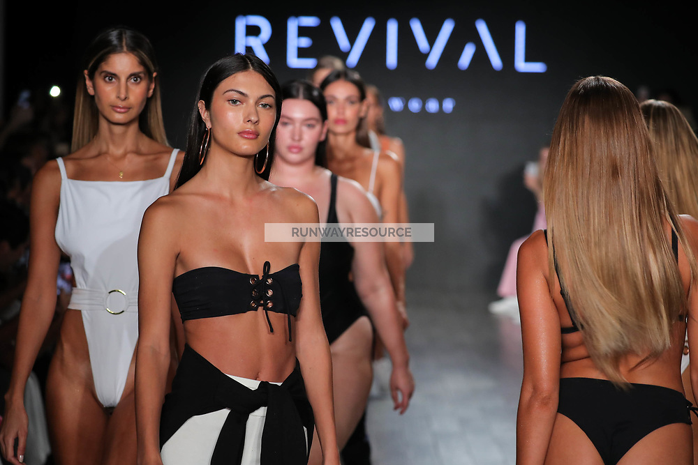 A model walks the runway during Revival Swimwear Runway Show Hosted by Klarna STYLE360 NYFW on September 11, 2019 in New York City