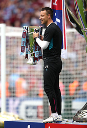 Aston Villa assistant coach John Terry celebrates with the Sky Bet Championship Play-off Final trophy after the final whistle