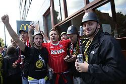 14 September 2017 -  UEFA Europa League (Group H) - Arsenal v FC Koln - FC Koln fans pose wearing Police helmets outside McDonalds on Highbury Corner - Photo: Mark Leech/Offside