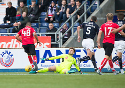 Dunfermline's Farid El Alagui scoring their goal. Falkirk 2 v 1 Dunfermline, Scottish Championship game played 15/10/2016, at The Falkirk Stadium.