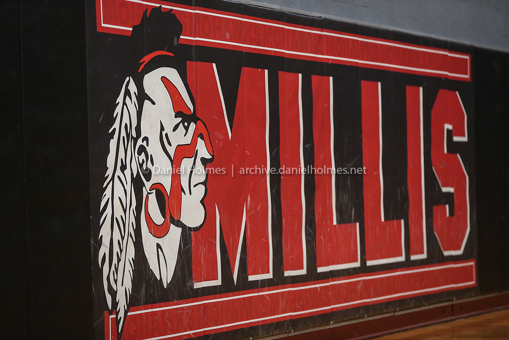 Millis' 'Mohawk' mascot during girls varsity basketball practice at Millis High School on Jan. 02, 2021.