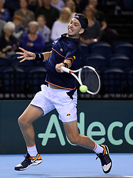 Great Britain's Cameron Norrie in action against Uzbekistan's Sanjar Fayzie during day three of the Davis Cup match at Emirates Arena, Glasgow.