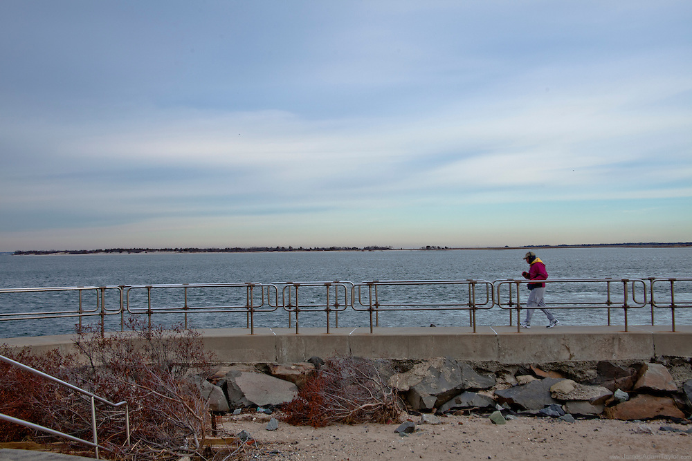 A jogger at the northern tip of Long Beach Island.