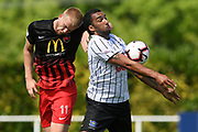 Hawke's Bay United's Paul Ifill and Canterbury United's James Pendrigh compete for the ball in the Handa Premiership football match, Hawke's Bay v Canterbury, Bluewater Stadium, Napier, Sunday, October 28, 2018. Copyright photo: Kerry Marshall / www.photosport.nz